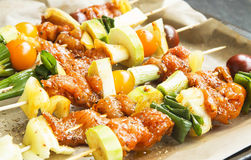 Spicy Marinated Raw Chicken and Vegetable Skewers Royalty Free Stock Image