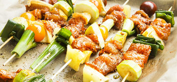 Spicy Marinated Raw Chicken and Vegetable Skewers Stock Image