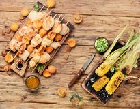 Bbq turkey meat on wooden skewers Stock Images