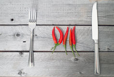 Spicy meal concept with chilis Royalty Free Stock Photos