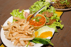 Spicy meat and tomato dip spicy. Northern Thai Meat and Tomato Spicy Dip name in Thai is Nam Prik Aong serve with bolied mix vegetables Stock Image