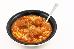 Spicy Meatball Soup. A  big bowl of homemade spicy meatball soup with turkey meatballs, rice, beans corn, and tomatoes Royalty Free Stock Photo