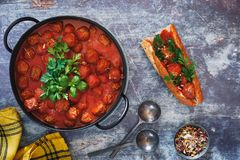 Spicy Meatballs And  Sub Sandwich Stock Images