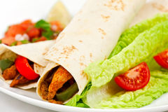 Spicy mexican fajita wraps on a white background Royalty Free Stock Image