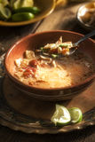 Spicy mexican soup with cream. avocado, lime, chicken breast and tortilla Royalty Free Stock Photo