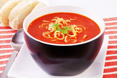 Spicy Mexican Tomato and Noodle Soup Royalty Free Stock Images