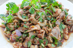 Spicy minced chicken salad (larb, thai food) Stock Photo
