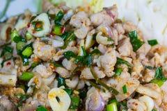 Spicy minced meat salad. Spicy minced meat salad / Thai food Royalty Free Stock Photos