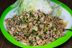 Spicy minced meat salad. Spicy minced meat salad / Thai food royalty free stock images