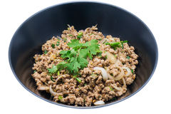 Spicy minced pork in the dish. Thai food Royalty Free Stock Photography