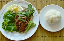 Spicy minced pork and liver salad eat couple with sticky rice Stock Photography