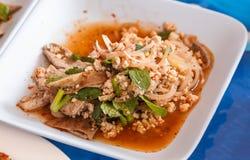 Spicy Minced Pork Salad Stock Photos