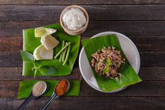 Spicy minced pork salad on fresh banana leaf. And ingredient Stock Photography