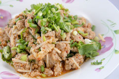 Spicy minced pork salad Stock Photo