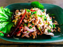 Spicy minced pork salad. Larb moo stock photos