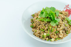 Spicy minced pork salad, minced pork mash with spicy Royalty Free Stock Photo