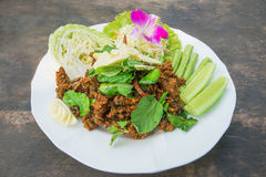Spicy minced pork salad, minced pork mash with spicy, Thai food Stock Photo