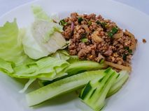 Spicy minced pork salad, minced pork mash with spicy, Thai food Royalty Free Stock Photo