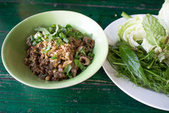 Spicy minced pork salad, minced pork mash with spicy, Thai food. Thai spicy salad with minced and pork on white background , thai food Stock Photo