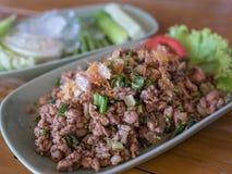 Spicy minced pork salad Stock Photo