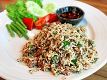 Spicy minced pork salad with rice Royalty Free Stock Photo