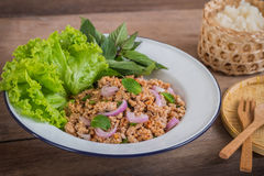 Spicy minced pork salad and sticky rice, Thai food Royalty Free Stock Photos