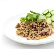 Spicy minced pork salad , Thai food Royalty Free Stock Photos
