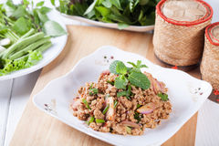 Spicy minced pork salad , Thai food Stock Photo