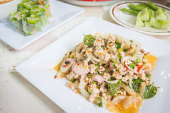 Spicy minced pork salad, Thai food Stock Photos