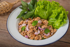 Spicy minced pork salad with vegetables, Thai food Stock Photo