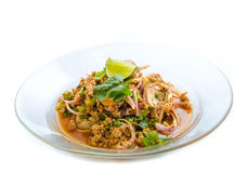 Spicy minced pork salad Royalty Free Stock Image