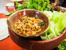 Spicy minced pork. Are popular food for tourists coming to Northern Thailand Stock Images