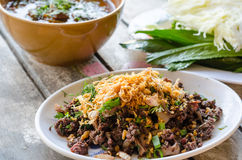 Spicy minced pork or spicy minced pork salad Thai dishes Royalty Free Stock Image