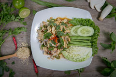 Spicy minced vegetables, Thai food Royalty Free Stock Photography