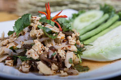 Spicy minced vegetables, Thai food Stock Photos