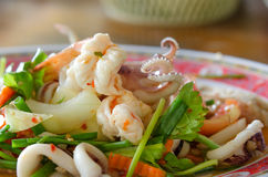 Spicy mix seafood salad Stock Images