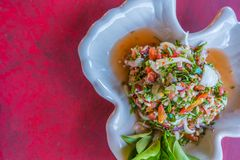 Spicy mixed salad of tea leaf, Chinese Yunnan food Stock Photos