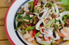 Spicy mixed seafood salad Royalty Free Stock Images