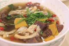 Spicy Mixed Vegetable soup. With mushrooms royalty free stock photography
