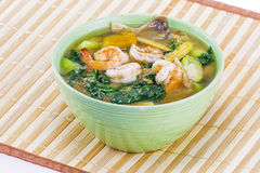 Spicy mixed vegetable soup with shrimp Stock Photography