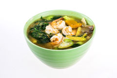 Spicy mixed vegetable soup with shrimp Stock Photo