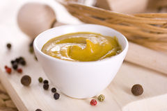 Spicy mustard. Full colors food dip Royalty Free Stock Images