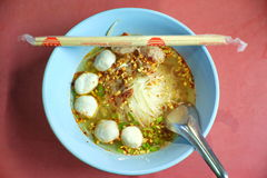 Spicy noodle. In the blue plate Royalty Free Stock Image