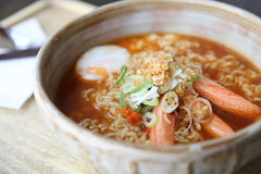 Spicy Noodle with egg Royalty Free Stock Photos
