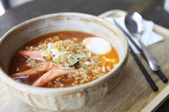 Spicy Noodle with egg Royalty Free Stock Photography