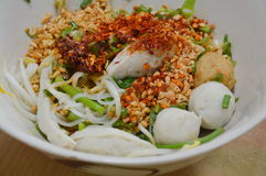 Spicy noodle with fish ball Royalty Free Stock Photos