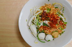 Spicy noodle with fish ball Stock Images