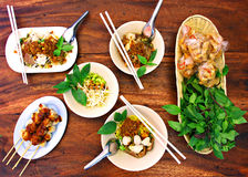 Spicy noodle and meatballs set stock images