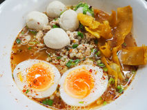 Spicy noodle with minced pork and boiled eggs Stock Images