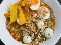 Spicy noodle with minced pork and boiled eggs Royalty Free Stock Image